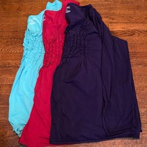 3 long sleeve neck cotton shirts with ruffle